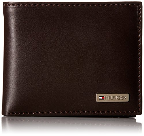 tommy-hilfiger-leather-mens-multi-card-passcase-bifold-wallet-with-removable-card-case-brown-one-siz
