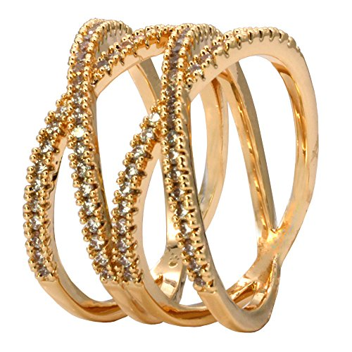 Gold Round Ring Pave (Impression Collection Double X Cross CZ Rings Criss Wedding Party Engagement Statement Micro Pave Clear Cubic Zirconia Cocktails Gold Plated for Women Bridal Size 6-9 (Gold, 7))