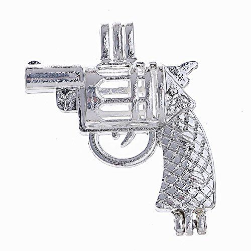 Gun Pearl - 10pcs Revolver Gun Pearl Cage Bright Silver Beads Cage Locket Pendant Jewelry Making--For Oyster Pearls, Essential Oil Diffuser, Fun Gifts (Gun)