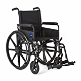 Medline Premium Ultra-lightweight Wheelchair with Full-Length Arms and Swing-Away Leg Rests for Easy Transfers, 18'' Seat