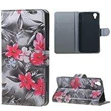 Alcatel Case, Candy House Alcatel OneTouch Idol 3 4.7 inch Case Elegant Lily Pattern Horizontal Wallet Case Magnetic Closure Flip Cover