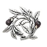 NOVICA Dyed Black Cultured Freshwater Pearl .925 Sterling Silver Floral Brooch Pin, Ebony Buds