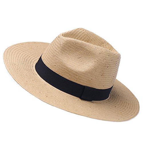 Janey&Rubbnis Summer Handmade Wide Brim Classic Fedora Natural Straw Panama Sun Hat (Medium (7 1/8~7 1/4) 58cm, Beige) by Janey&Rubbins