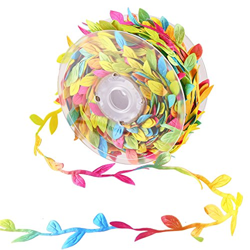 CCINEE 24 Yard Artificial Leaf Ribbon Colorful Fabric Leaf Ribbon Trim for Wreath Garland Making, Home Decoration, Gift Wrapping and Crafts Accessory