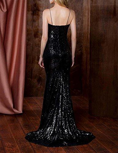 Prom Mermaid Dresses Purple DreHouse Sequins Spaghetti Women's Party 2018 Straps Wedding Gowns xFXTq