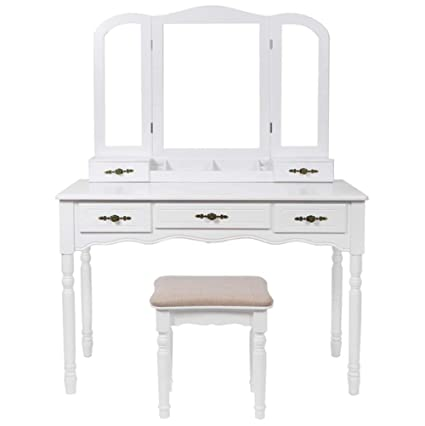 . Amazon com  GW Modern Dressing Table  Wooden Makeup Table  with