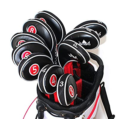 Craftsman Golf 12pcs Golf Iron Putter Head Covers Headcover Set Black & Red Fit All Brands Titleist, Callaway, Ping, Taylormade, Cobra, Nike, Etc.