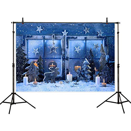 (Allenjoy 7x5ft Winter Christmas Backdrop Snow Blue Window Snowflake Star Pine Tree Wooden Reindeer Kids Party Photography Background Decoration Photo Studio Props)