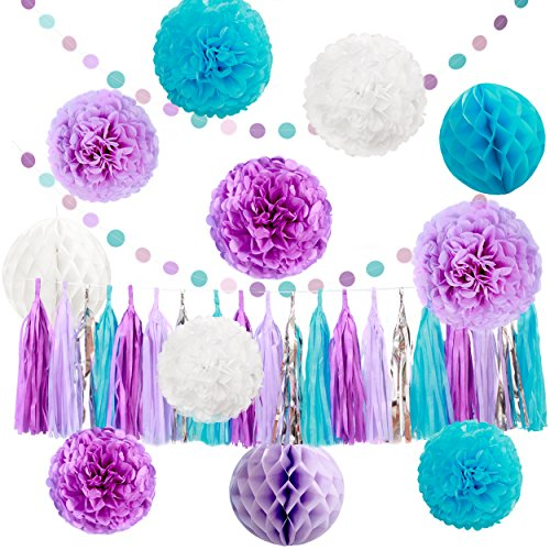 Honeycomb Party Decoration (Party Decorations Set , 33 Pcs Tissue Pompoms ,Paper Tassels,Honeycomb Balls and Dot Paper Garland - Great for Baby Shower Birthday Party, Weddings (Purple Light Purple Blue White))