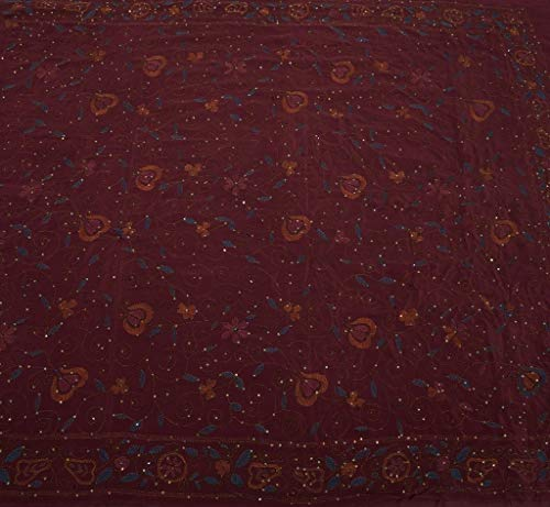 Vintage Indian Sari 100% Pure Crepe Silk Hand Embroidered Kantha Saree Fabric (Crepe Saree Pure)