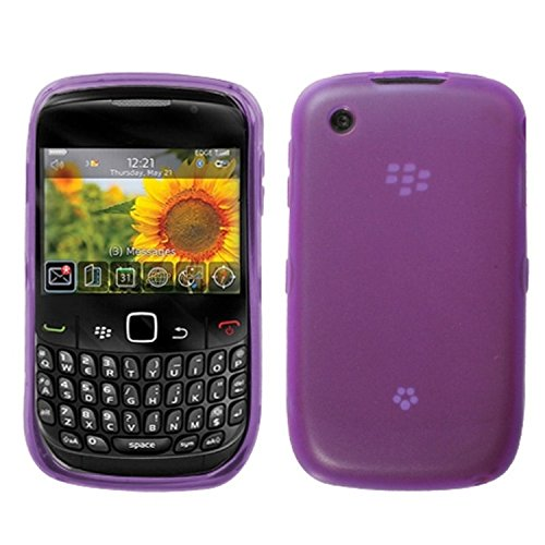 007 Rubberized Slim and Durable Protective Cover for BlackBerry Curve 8520/8530/9300/9330 - 1 Pack - Retail Packaging - Purple/Semi Transparent ()