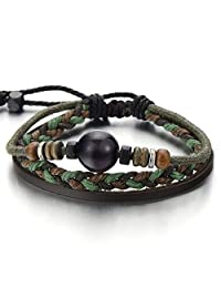 Multi-strand Brown Leather Bracelet for Men Women Tribal Leather Wristband Wrap Bracelet with Beads