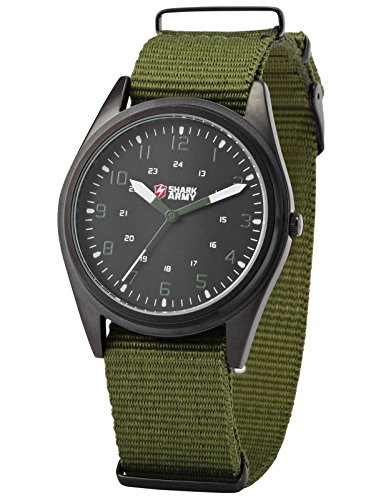 Dial Army Green - SHARK ARMY Black Dial Men's Military Green Nylon Outdoor Sport Quartz Wrist Watch SAW039