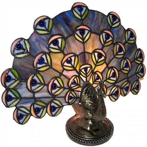 Standard Specialty 1474 Pretty Tiffany Peacock Table Lamp