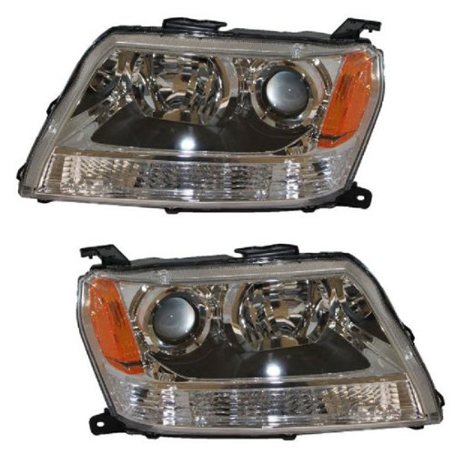 2006 2007 2008 Suzuki Grand Vitara Headlight Headlamp Composite Halogen Front Head Light Lamp Set Pair Left Driver And Right Passenger Side (06 07 08)