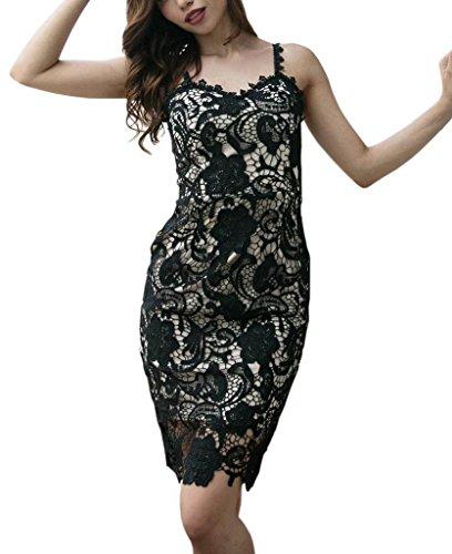 Strap YiyiLai Sleeveless Dress Apricot Midi Neck Black Women Slim Banquet V Lace Sexy cpZ1Cp