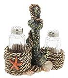 Distressed Nautical Salt & Pepper Shaker Set with Anchor Holder