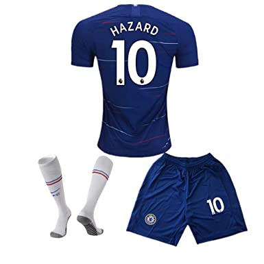 reputable site 6380f 08a38 Chelsea Home #10 Hazard 2018-2019 Season Kids/Youth Soccer Jersey & Shorts  & Socks Color Blue