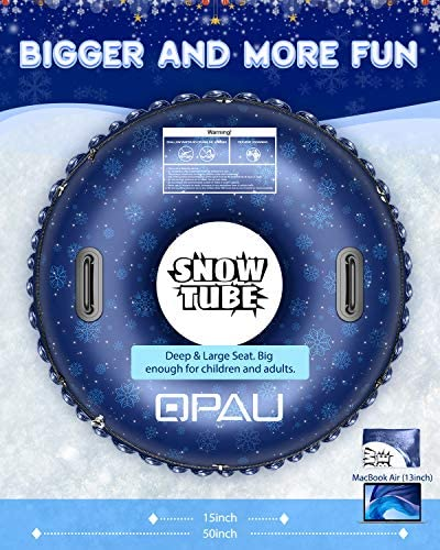 QPAU Snow Tube, Larger 50 Inch Inflatable Snow Sled for Kids and Adults, Heavy Duty Snow Tube Made by Thickening Material of 0.7mm,Snow Toys for Kids Outdoor
