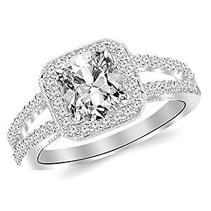 1.47 Ctw 14K White Gold GIA Certified Cushion Cut Designer Split Shank Halo Style With Milgrain Diamond Engagement Ring, 1 Ct D E VS1 VS2 Center