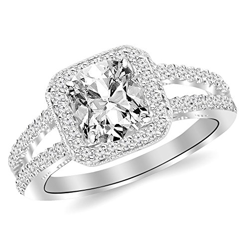 1.47 Ctw 14K White Gold GIA Certified Cushion Cut Designer Split Shank Halo Style With Milgrain Diamond Engagement Ring, 1 Ct D-E VS1-VS2 Center