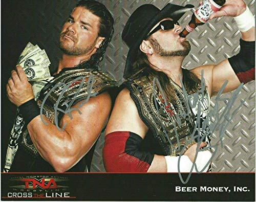 Robert Bobby Roode & James Storm Beer Money Inc Signed TNA Promo 8x10 Photo WWE - Autographed Wrestling Photos