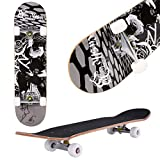 Aceshin Skateboard, 31' x 8' Complete PRO Skateboard, 9 Layer Canadian Maple Wood Double Kick Tricks Skate Board Concave Design for Beginner,Gift for Kids Boys Girls Youths (3 - Black Pose)