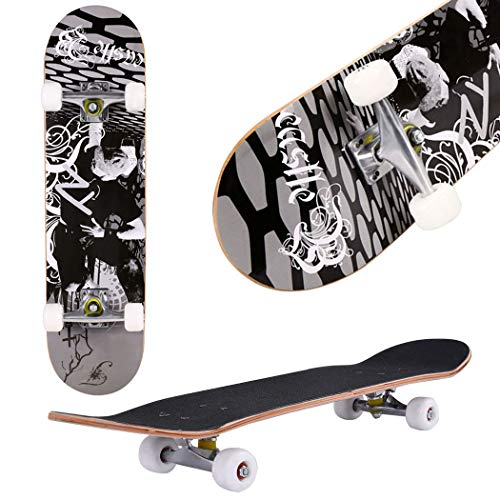 Aceshin Skateboard, 31″ x 8″ Complete PRO Skateboard, 9 Layer Canadian Maple Wood Double Kick Tricks Skate Board Concave Design for Beginner,Gift for Kids Boys Girls Youths