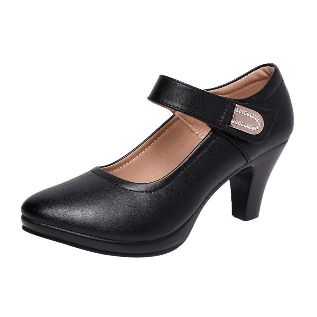YAN Damenmode Schuhe One-Button Schnalle Schwarz Chunky Ferse Cheongsam Catwalk Schuhe Mutter Schuhe Professionelle Arbeitsschuhe
