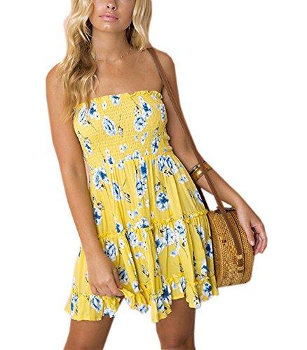 Moxeay Women Off Shoulder Strapless Floral Print Swing Mini Dress (M, Yellow) - Flower Mini Dress