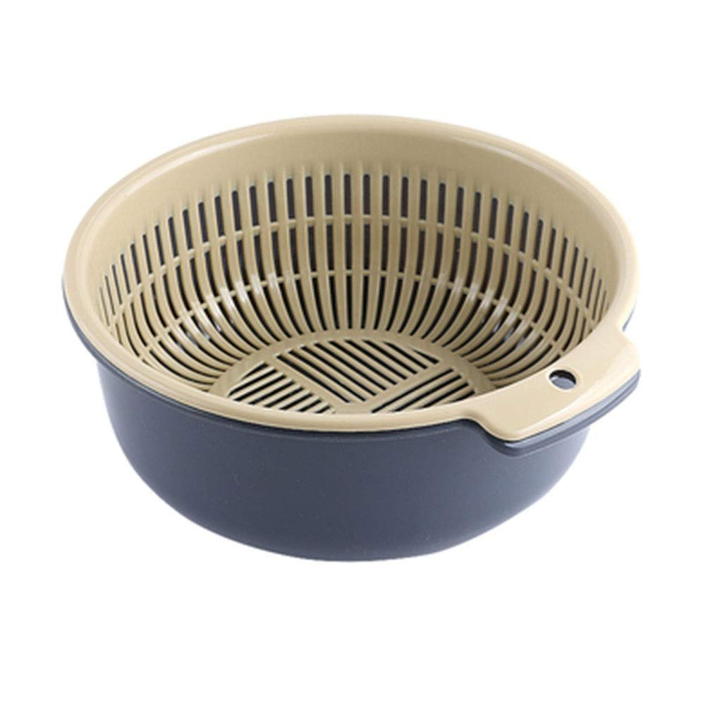 Kitchen Washing Basket, Household Washing Basket Double Fruit and Vegetable Washing Basket (Color : Blue)