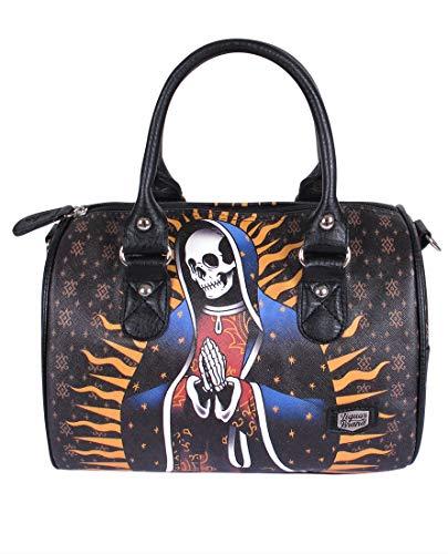 Liquorbrand Santa Muerte Women's Bowler Bag Purse Faux Leather Handbag