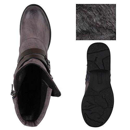 ... Stiefelparadies Damen Stiefeletten Biker Boots Leicht Gefütterte  Stiefel Bikerstiefel Schnallen Leder-Optik Schuhe Nieten Booties ... 2227cd4842