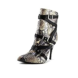 Guess Women's Parley Stiletto Ankle Boots, Natural Multi, Size 6.0