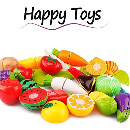 DEESEE(TM))20PC Cutting Fruit Vegetable Pretend Play Children Kid Educational Toy Random