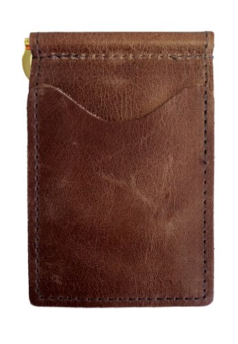 - Back Saver Leather Wallet for Men | Front Pocket Compact Minimalist Slim Leather Wallet | Spring Money Clip and Photo Holder Card Sleeves (Brown)