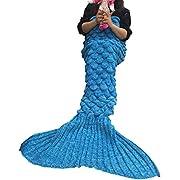 Meerjungfrau Decke, Handgemachte Häkeln Meerjungfrau Flosse Decke für Erwachsene, Mermaid Blanket alle Jahreszeiten Schlafsack (71''x35'',Blau(s))