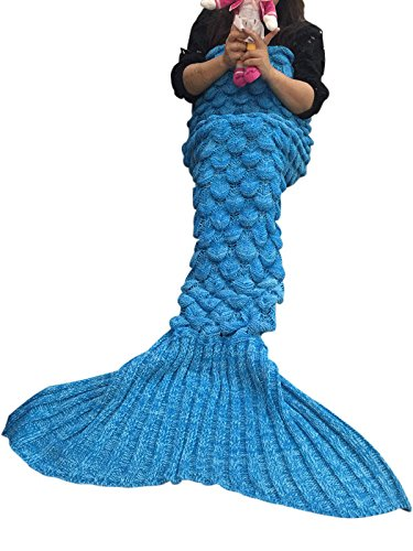 """Price comparison product image U-miss Mermaid Blanket Crochet and Mermaid Tail Blanket for adult, Super Soft All Seasons Thicken Sleeping Blankets(71""""x35.5"""", Scale Blue)"""