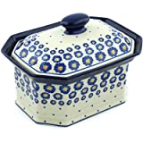 Polish Pottery Jar with Lid 10-inch