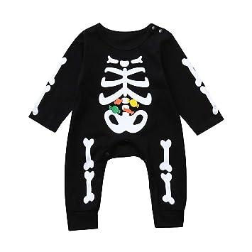 7bfc59701 Amazon.com   Newborn Toddler Baby Halloween Bone Candy Print Romper ...