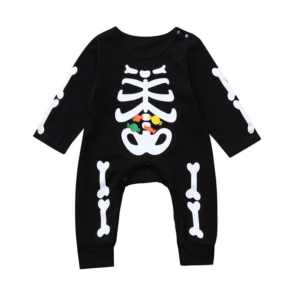 Ensemble de Vêtements Bébé CIELLTE Halloween Romper Filles Garçons Shantou Squelette Bonbon Impression Grenouillères Costumes de Festival Pyjama Mignon