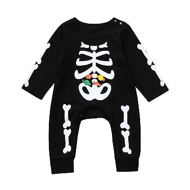BBsmile Bebe Niño Halloween Disfraz Esqueleto Peleles de Manga Larga