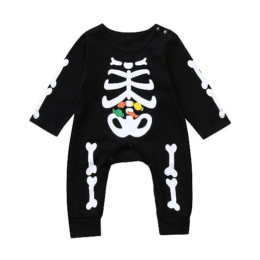 9a47a6da66aa ... undefeated x 145e9 a4612 Yalasga 0-24 Months Newborn Baby Bone Candy  Printed Halloween Romper ...