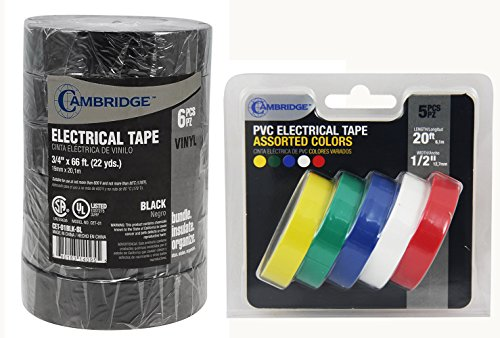 Cambridge Electrical Tape. MEGA PACK, 6 Rolls Black 3/4 Inch By 66 Feet Per Roll Plus 5 Rolls Assorted Colors 1/2 Inch By 20 Feet Per Roll, Professional Grade by Cambridge (Image #7)