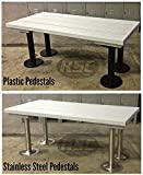 ADA Plastic Slat Locker Room Bench - 48'' x 24'' x 19'' - Sand Color Top, 304 Stainless Steel Legs