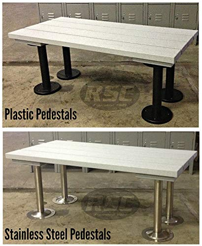 ADA Plastic Slat Locker Room Bench - 48'' x 24'' x 19'' - Sand Color Top, 304 Stainless Steel Legs by Robinson Steel Co. (Image #2)