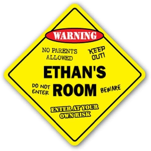 Children Novelty Warning Sign: Ethans Room Keep Out Girls 10 x 6 Plastic Sign Post on Bedroom Door Kids For Boys