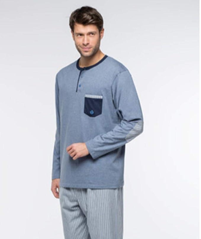 Pijama Guach Camiseta con Bolsillo y Coderas a Juego con Pantalon a Rayas. Pantalón con Bolsillos, vyella. Talla L.: Amazon.es: Ropa y accesorios