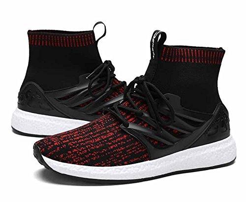 À Montée Respirante Red Chaussures Haute Confortables Athlétiques De Course Hommes Occasionnelles Noir F76PY8qq