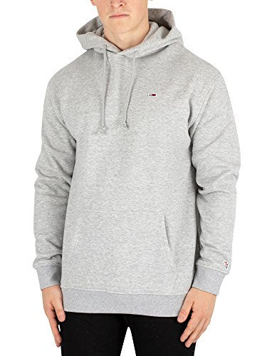 (Tommy Jeans Men's Hoodie Sweatshirt Relaxed Fit Classics Collection, Light Grey Heather, Medium)